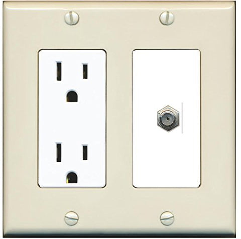 RiteAV - 15 Amp Power Outlet and 1 Port Coax Cable TV- F-Type Decorative Type Wall Plate - Light Almond/White