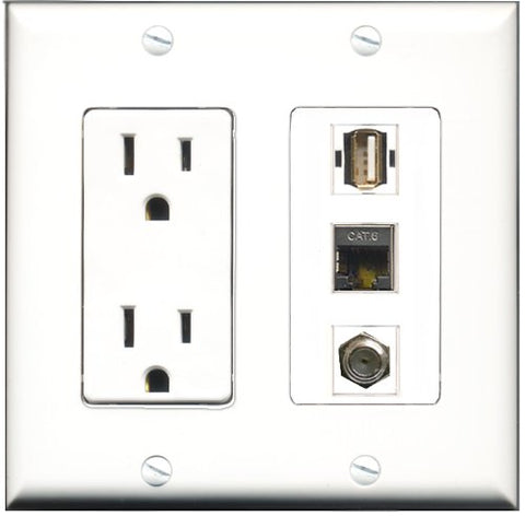 RiteAV - 15 Amp Power Outlet 1 Port Coax 1 Port USB A-A 1 Port Shielded Cat6 Ethernet Ethernet Decorative Wall Plate