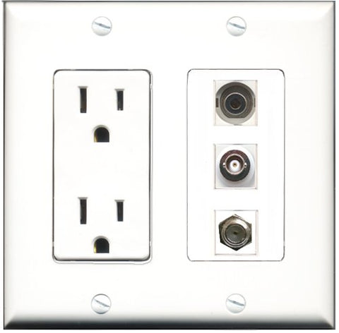 RiteAV - 15 Amp Power Outlet 1 Port Coax 1 Port 3.5mm 1 Port BNC Decorative Wall Plate