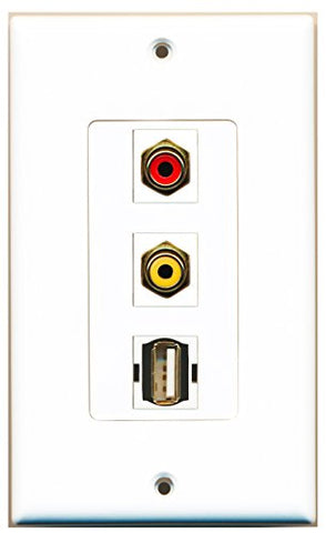 RiteAV - 1 Port RCA Red and 1 Port RCA Yellow and 1 Port USB A-A Decorative Wall Plate Decorative