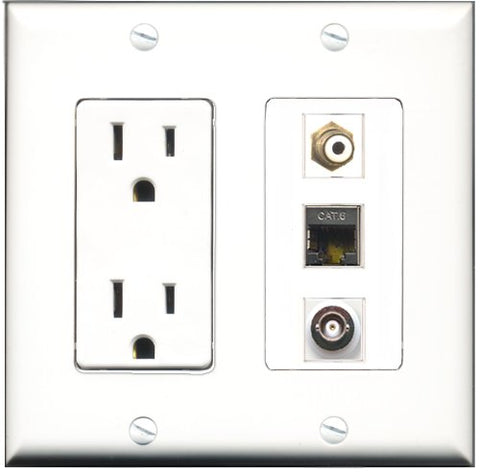 RiteAV - 15 Amp Power Outlet 1 Port RCA White 1 Port Shielded Cat6 Ethernet Ethernet 1 Port BNC Decorative Wall Plate