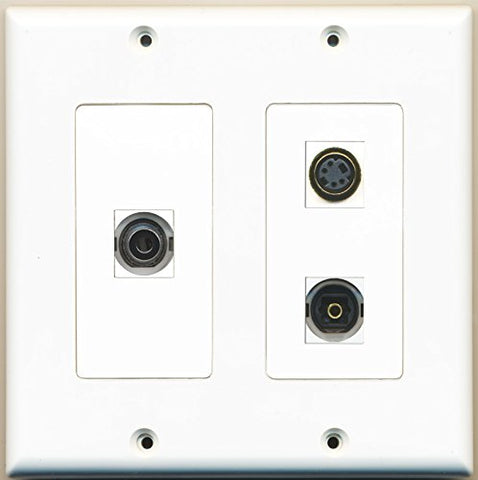 RiteAV - 1 Port S-Video 1 Port Toslink 1 Port 3.5mm - 2 Gang Wall Plate