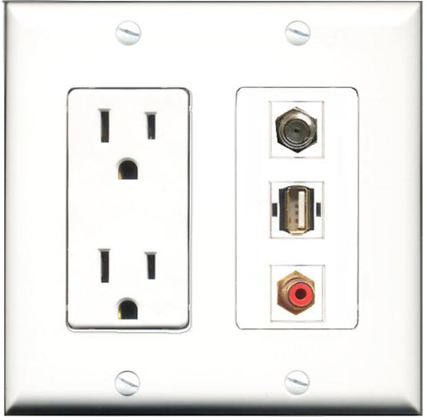RiteAV - 15 Amp Power Outlet 1 Port RCA Red 1 Port Coax 1 Port USB A-A Decorative Wall Plate