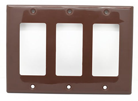 RiteAV Blank Wall Plate for Keystone Jacks - Brown 3 Gang Decorative