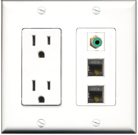 RiteAV - 15 Amp Power Outlet 1 Port RCA Green 2 Port Shielded Cat6 Ethernet Ethernet Decorative Wall Plate