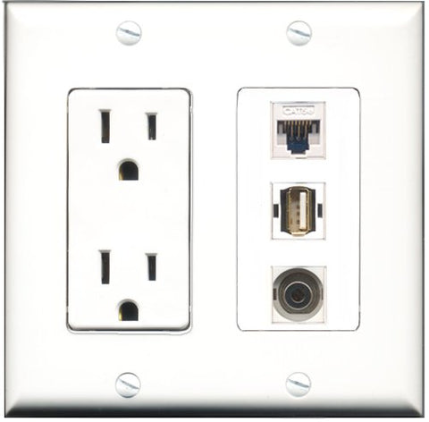 RiteAV - 15 Amp Power Outlet 1 Port USB A-A 1 Port 3.5mm 1 Port Cat5e Ethernet White Decorative Wall Plate