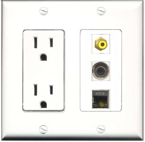 RiteAV - 15 Amp Power Outlet 1 Port RCA Yellow 1 Port Shielded Cat6 Ethernet Ethernet 1 Port 3.5mm Decorative Wall Plate
