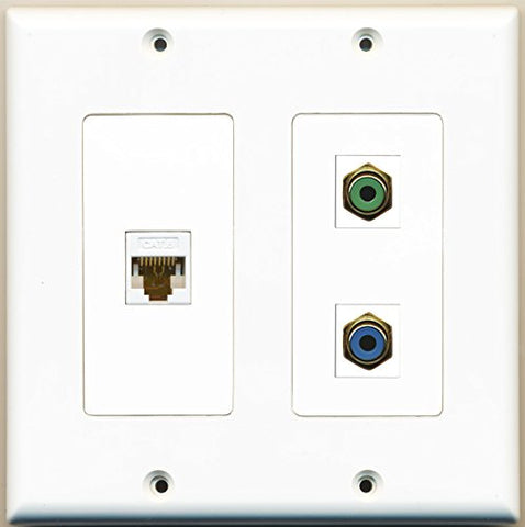 RiteAV - 1 Port RCA Green 1 Port RCA Blue 1 Port Cat6 Ethernet White - 2 Gang Wall Plate