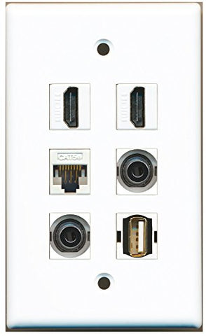 RiteAV - 2 HDMI 1 Port USB A-A 2 Port 3.5mm 1 Port Cat5e Ethernet White Wall Plate