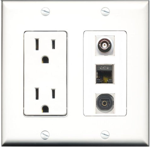RiteAV - 15 Amp Power Outlet 1 Port Shielded Cat6 Ethernet Ethernet 1 Port Toslink 1 Port BNC Decorative Wall Plate