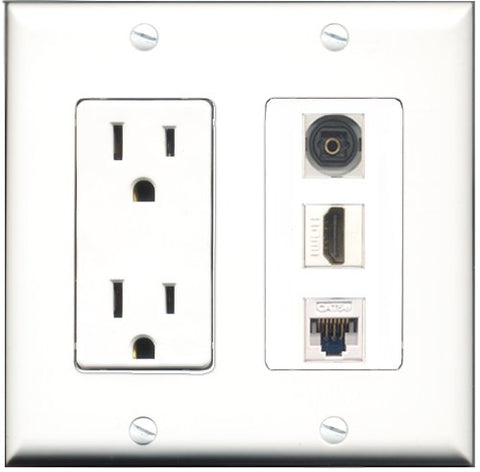 RiteAV - 15 Amp Power Outlet 1 Port HDMI 1 Port Toslink 1 Port Cat5e Ethernet White Decorative Wall Plate