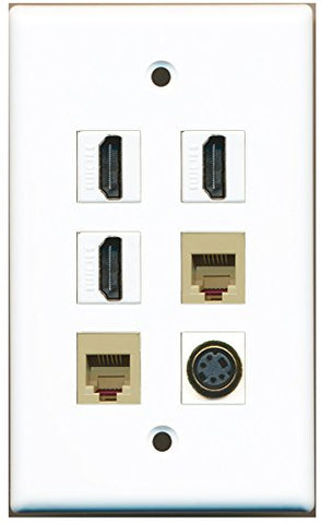 RiteAV - 3 HDMI 2 Port Phone RJ11 RJ12 Beige 1 Port S-Video Wall Plate