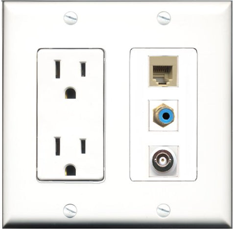 RiteAV - 15 Amp Power Outlet 1 Port RCA Blue 1 Port Phone Beige 1 Port BNC Decorative Wall Plate