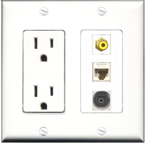 RiteAV - 15 Amp Power Outlet 1 Port RCA Yellow 1 Port Toslink 1 Port Cat6 Ethernet Ethernet White Decorative Wall Plate