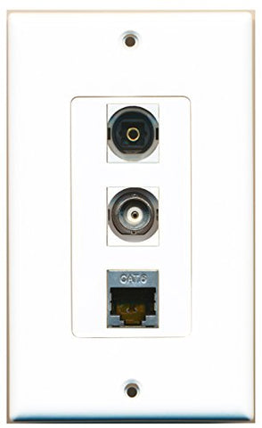 RiteAV - 1 Port Shielded Cat6 Ethernet and 1 Port Toslink and 1 Port BNC Decorative Wall Plate Decorative