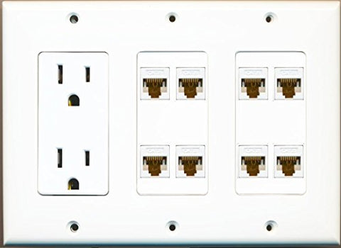 RiteAV 15A 125V Power Outlets + 8 x Cat6 Ethernet Triple 3 Gang Wall Plate