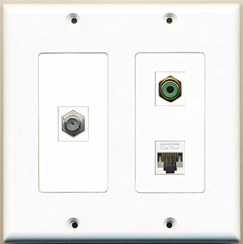 RiteAV - 1 Port RCA Green 1 Port Coax Cable TV- F-Type 1 Port Cat5e Ethernet White - 2 Gang Wall Plate