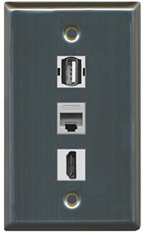 RiteAV - 1 Port HDMI USB A-A and 1 Port Cat6 Ethernet Wall Plate - Stainless Steel