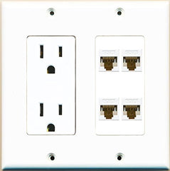 RiteAV Power Outlet 4 Cat6 Wall Plate White