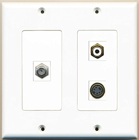 RiteAV - 1 Port RCA White 1 Port Coax Cable TV- F-Type 1 Port S-Video - 2 Gang Wall Plate
