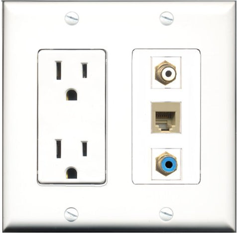 RiteAV - 15 Amp Power Outlet 1 Port RCA White 1 Port RCA Blue 1 Port Phone Beige Decorative Wall Plate