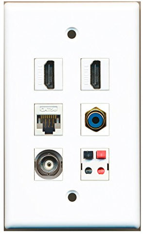 RiteAV - 2 HDMI 1 Port RCA Blue 1 Port BNC 1 Port Cat5e Ethernet White 1 Port Speaker Wall Plate