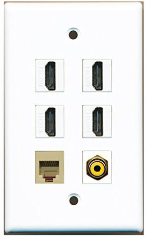 RiteAV - 4 HDMI 1 Port RCA Yellow 1 Port Phone RJ11 RJ12 Beige Wall Plate