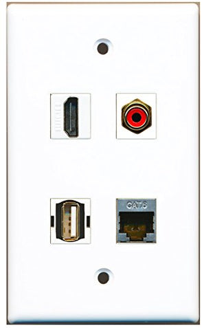 RiteAV - 1 Port HDMI 1 Port RCA Red 1 Port USB A-A 1 Port Shielded Cat6 Ethernet Wall Plate