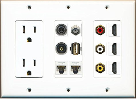 RiteAV (3 Gang) 15A Outlet 3 HDMI Coax 2 Cat5e Composite 3.5mm Toslink USB Wall Plate