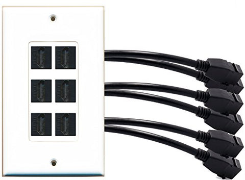 RiteAV (1 Gang Decorative) 6 HDMI Black Wall Plate w/ Pigtail Extension Cable