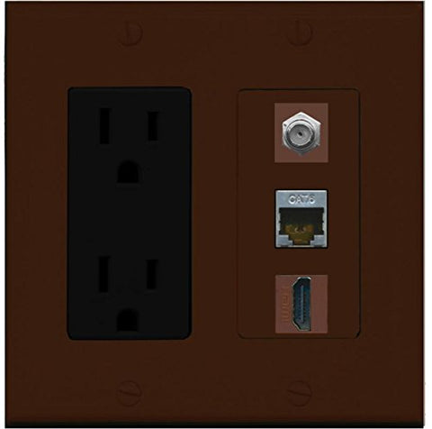 RiteAV - 15 Amp Power Outlet 1 Port HDMI Coax Shielded Cat6 Ethernet Ethernet Wall Plate - Brown