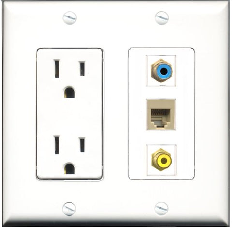 RiteAV - 15 Amp Power Outlet 1 Port RCA Yellow 1 Port RCA Blue 1 Port Phone Beige Decorative Wall Plate