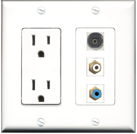 RiteAV - 15 Amp Power Outlet 1 Port RCA White 1 Port RCA Blue 1 Port Toslink Decorative Wall Plate