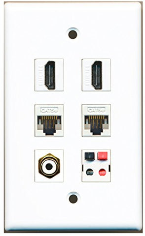 RiteAV - 2 HDMI 1 Port RCA White 2 Port Cat5e Ethernet White 1 Port Speaker Wall Plate