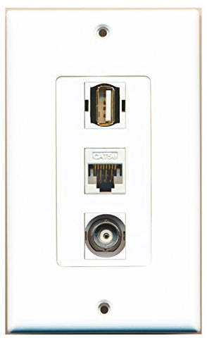 RiteAV - 1 Port USB A-A and 1 Port BNC and 1 Port Cat5e Ethernet White Decorative Wall Plate