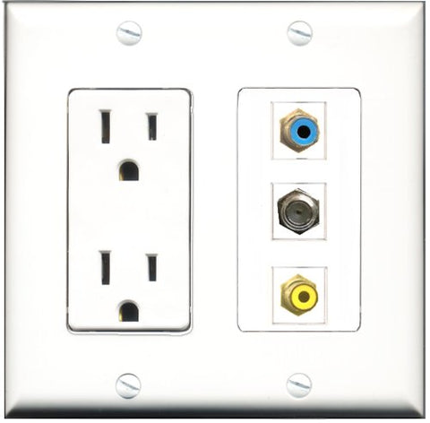 RiteAV - 15 Amp Power Outlet 1 Port RCA Yellow 1 Port RCA Blue 1 Port Coax Decorative Wall Plate
