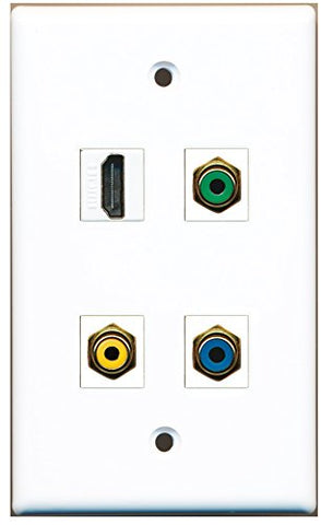 RiteAV - 1 Port HDMI 1 Port RCA Yellow 1 Port RCA Green 1 Port RCA Blue Wall Plate