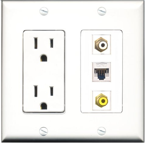 RiteAV - 15 Amp Power Outlet 1 Port RCA White 1 Port RCA Yellow 1 Port Cat5e Ethernet White Decorative Wall Plate