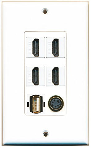 RiteAV - 4 Port HDMI 1 USB A-A 1 S-Video Wall Plate Decorative