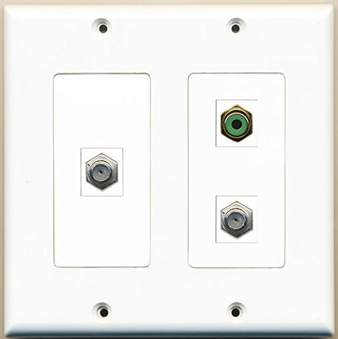 RiteAV - 1 Port RCA Green 2 Port Coax Cable TV- F-Type - 2 Gang Wall Plate
