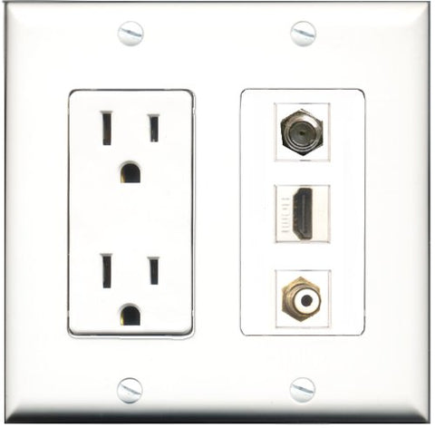 RiteAV - 15 Amp Power Outlet 1 Port HDMI 1 Port RCA White 1 Port Coax Decorative Wall Plate
