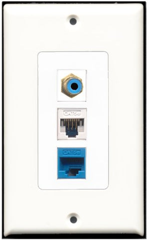RiteAV - 1 Port RCA Blue 1 Cat5e Ethernet White 1 Cat5e Ethernet Blue Wall Plate Decorative