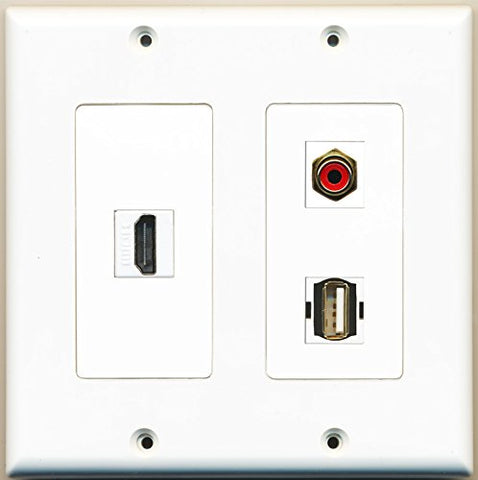 RiteAV - 1 Port HDMI 1 Port RCA Red 1 Port USB A-A - 2 Gang Wall Plate