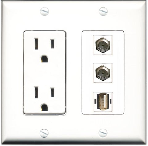 RiteAV - 15 Amp Power Outlet 2 Port Coax 1 Port USB A-A Decorative Wall Plate