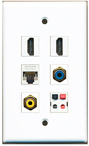 RiteAV - 2 HDMI 1 Port RCA Yellow 1 Port RCA Blue 1 Port Cat5e Ethernet White 1 Port Speaker Wall Plate