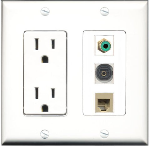 RiteAV - 15 Amp Power Outlet 1 Port RCA Green 1 Port Phone Beige 1 Port Toslink Decorative Wall Plate