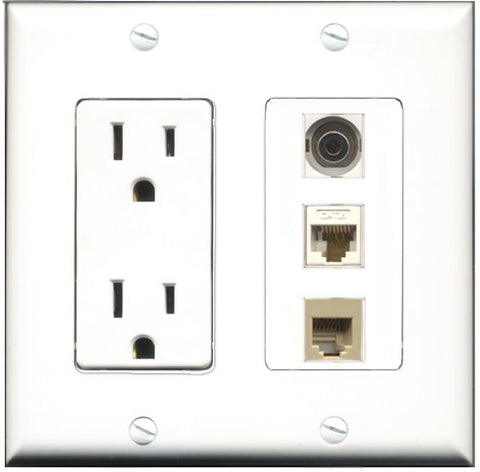 RiteAV - 15 Amp Power Outlet 1 Port Phone Beige 1 Port 3.5mm 1 Port Cat6 Ethernet Ethernet White Decorative Wall Plate
