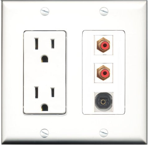 RiteAV - 15 Amp Power Outlet 2 Port RCA Red 1 Port Toslink Decorative Wall Plate