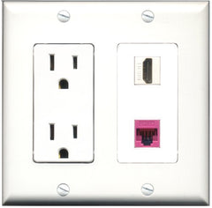 RiteAV - 15 Amp Power Outlet and 1 Port HDMI and 1 Port Cat5e Ethernet Pink Decorative Type Wall Plate White