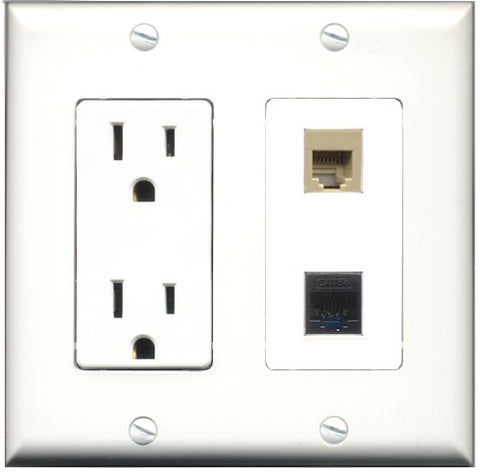 RiteAV - 15 Amp Power Outlet and 1 Port Phone RJ11 RJ12 Beige and 1 Port Cat5e Ethernet Black Decorative Type Wall Plate White